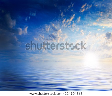 clouds on the beautiful sky and space sea surface