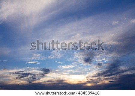 Clouds on the blue sky in the evening