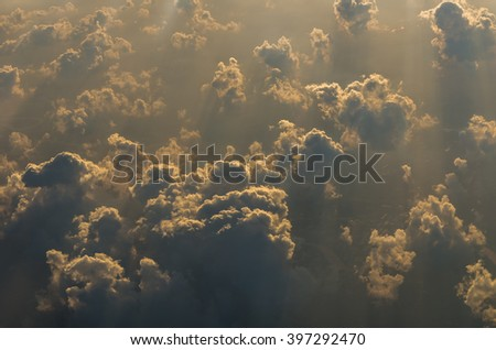 clouds on the sky from high view with worm white balance - stock photo