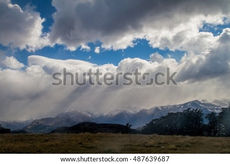 Clouds over countryside of National Park Los Glaciares, Argentina