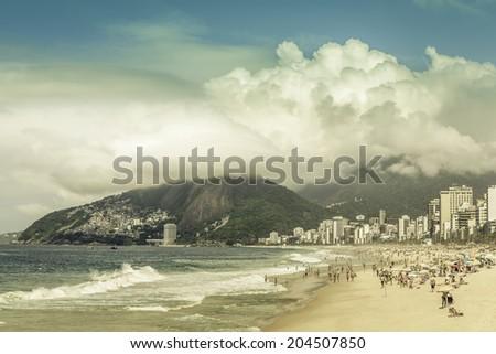 Clouds over  Ipanema Beach in Rio de Janeiro, Brazil - stock photo