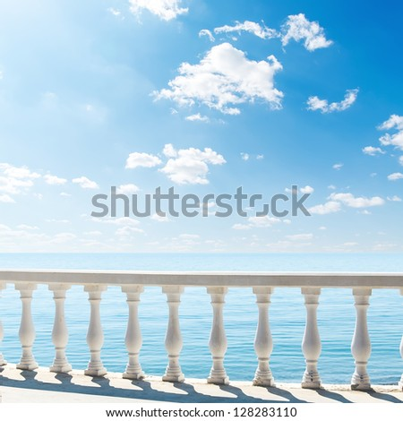 clouds over sea. view from terrace with balcony