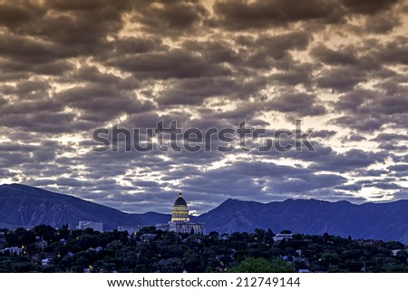 Clouds over the capital in Salt Lake City Utah - stock photo