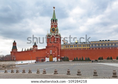 clouds over the main tower of the Kremlin , Moscow - stock photo