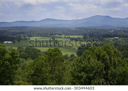 Clouds over the mountains at Afton Mountain near Charlottesville Virginia.