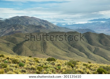Clouds over valley near place known as Serrania del Hornocal, Jujuy province, Argentina