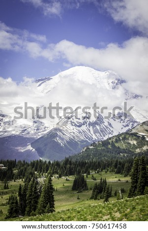 Clouds parting long enough to see the summit at Mt. Rainier National Park, Washington State