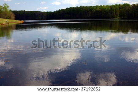 clouds reflection over a lake