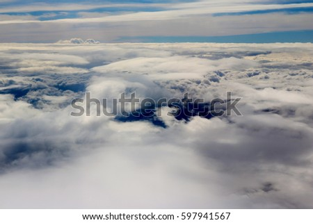 clouds seen from an airplane,blue sky sunshine,amazing background