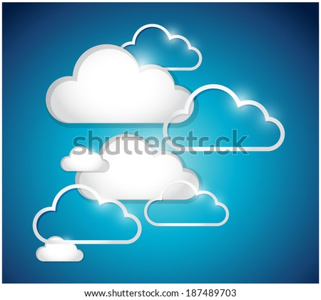 clouds set illustration design over a blue background