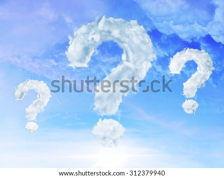 Clouds shaped as question mark on blue sky background  - stock photo