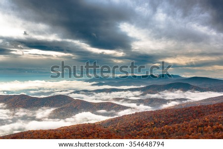 Clouds Shenandoah National Park - stock photo