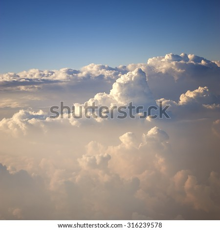 Clouds sky on the plane view - stock photo