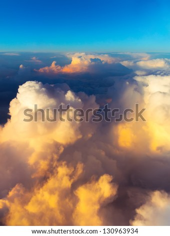 Clouds. sky with clouds at sunset or sunrise. sunset with a height of 10 000 km. Top view. - stock photo