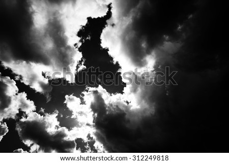 Clouds - stormy sky with dramatic clouds - stock photo
