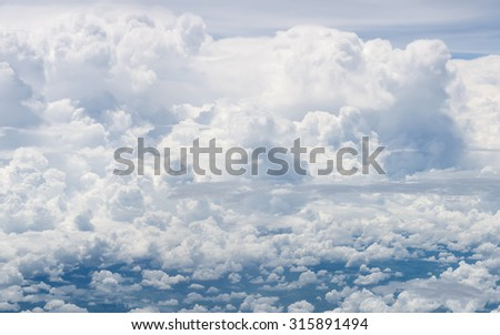 Clouds with blue sky in bright day for scene and background - stock photo