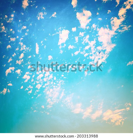 Clouds with blue sky,  retro feeling