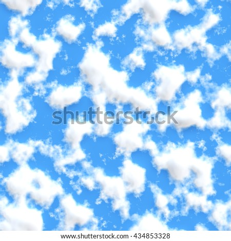 Clouds with blue sky texture background (Tiles seamless, High-resolution 3D CG rendering illustration) - stock photo