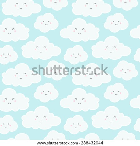 Clouds with funny cartoon faces seamless pattern. Raster version. - stock photo