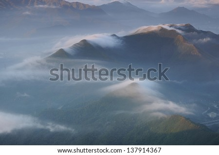 clouds with mountain in Shenzhen city, China