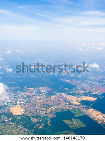 Cloudscape Around Plane in the Air  - stock photo