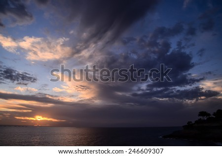 Cloudscape, Colored Clouds at Sunset near the Ocean