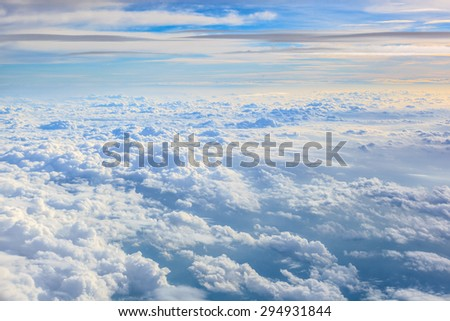 Cloudscape from top view - stock photo