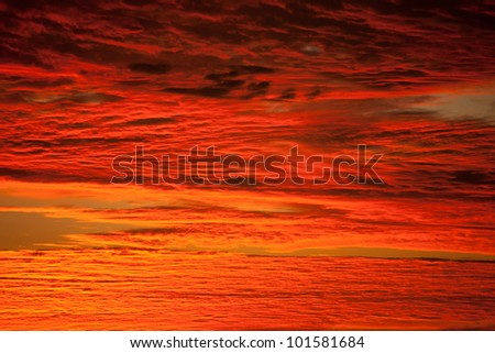 Cloudscape in red Sky - stock photo