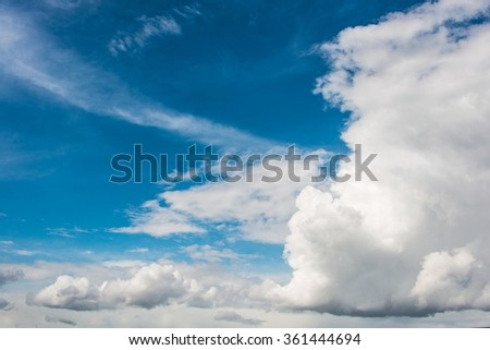 Cloudscape of bright blue sky - stock photo