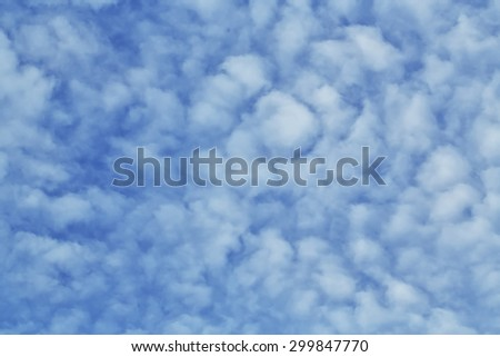 Cloudscape of bright blue sky,blue sky background with tiny clouds - stock photo
