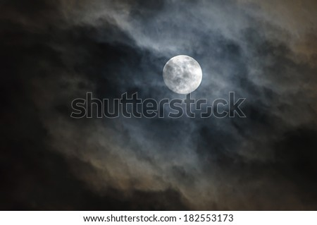 Cloudscape of night sky with moon