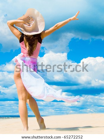 Cloudscape Vacation Woman - stock photo