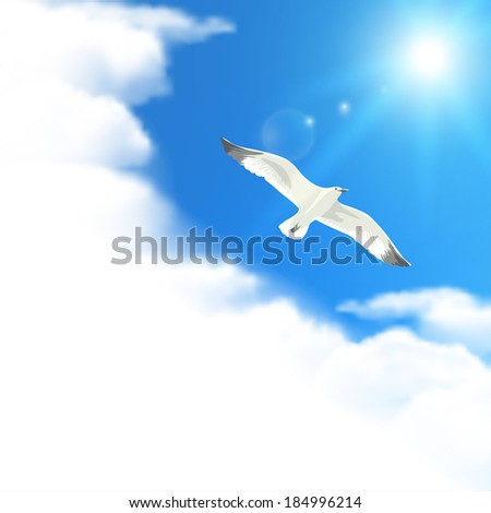 Cloudscape with Seagull. Raster version. - stock photo