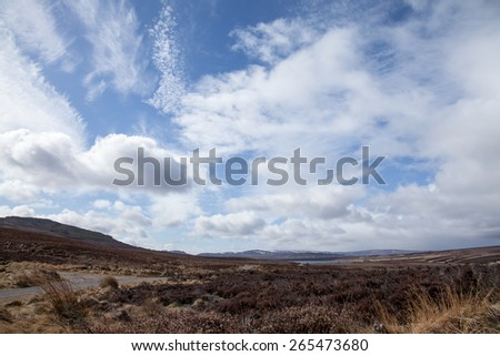 Cloudy and blue sky and landscape near Lochindorb in the Scottish Highlands, during March. - stock photo