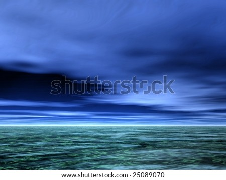 Cloudy and gloomy sky over the sea