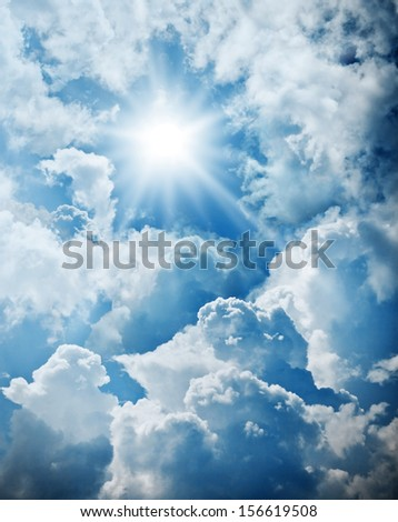 Cloudy and sun sky power of nature - stock photo