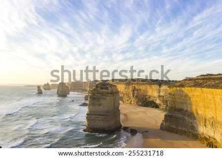 Cloudy blue sky at twelve apostles attractions on Green Ocean Road Australia