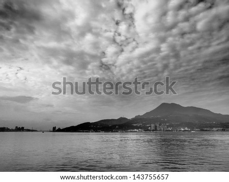 cloudy day  in black and white