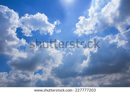 Cloudy day with a lot of cloud on blue sky