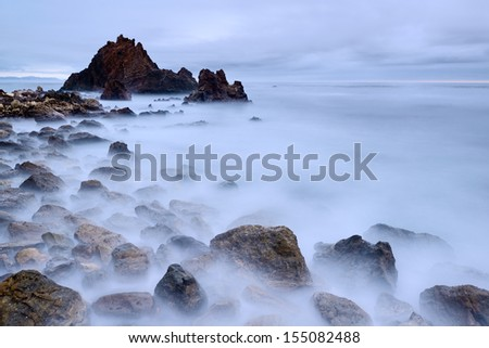Cloudy evening on a rocky beach, Palos Verdes, Los Angeles, California