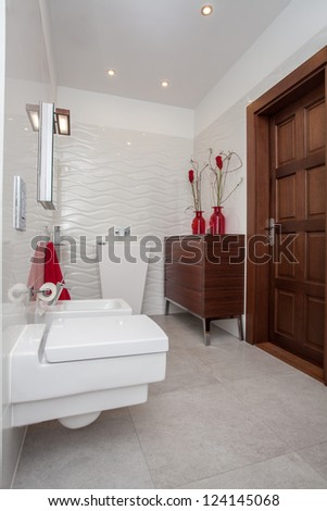 Cloudy home - small but well-developed bathroom interior