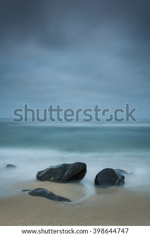 Cloudy landscape at the beach.