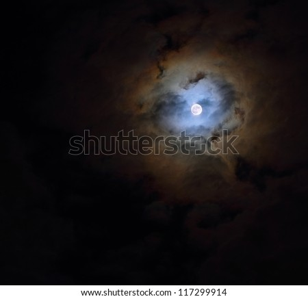 Cloudy moon sky in the shape of a heart - stock photo