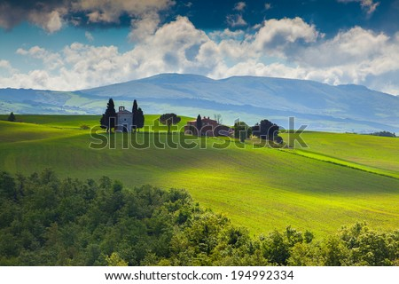 Cloudy morning on countryside in Tuscany, Italy.
