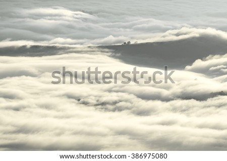 Cloudy morning sea over the mountains