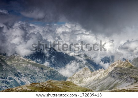 Cloudy mountains in Grossglockner region