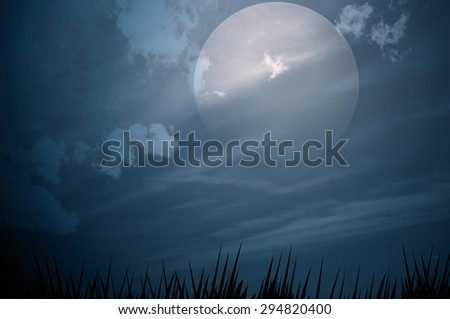 cloudy night sky with bright full moon
