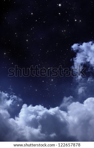 cloudy night sky with stars - stock photo