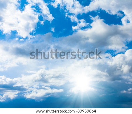 Cloudy Outdoor Shining Sunlight - stock photo
