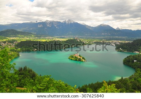 Cloudy panoramic view of lake bled - stock photo